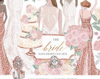 Wedding Clip Art | Hand Drawn Bride Bridesmaids Bouquet Cake Glitter Graphics | Planner Stickers, Invitation cards  | Digital Cliparts