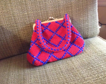 Vintage 1970s Plastic Beaded Purse in Bright Blue and Red Retro Clutch Handbag Bag Bead