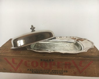 Silver Plate Covered Butter Dish w/ Glass Liner in Chippendale, Silverplate, Hollowware, Four Toe International Silver, Table decor