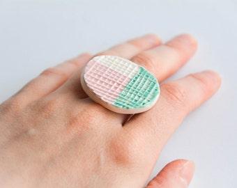 OVAL STATEMENT ceramic RING, Ceramic modern jewellery, Turquoise pink jewellery, Geometric ring, Christmas gift for girlfriend, Minimalist