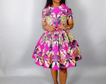 NEW IN :African print handmade dress,African clothing,pink cocktail dress,Ankara dresses