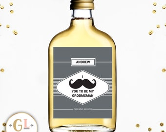 Best Man Mustache Liquor Label, Ask Groomsman, Groomsman Wine Label, Ask Usher, Best Man Idea, Custom Label, Personalized Best Man Gift