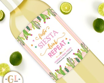 Fiesta Siesta Drink Repeat Bachelorette Labels, 21st 30th birthday fiesta wine labels, Cactus Wine Labels, Tropical Bachelorette Champagne