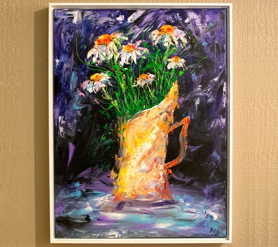 Flowers in Vase Painting - Original Painting of Flowers in Vase, Floral Painting, Original Acrylic on Canvas Wall Art Flowers, Flower Decor.