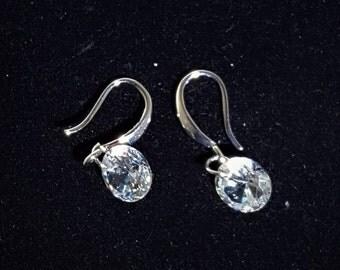Round Swarovski Crystal Dangle Hook Earrings