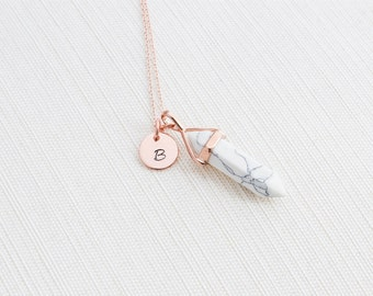 Rose Gold Initial and Howlite Necklace, Disc Necklace, Personalised Jewellery, Rose Gold Necklace, Marble Necklace