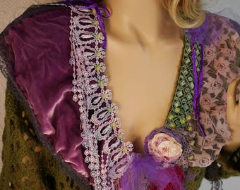 "RESERVED Vest in soft wool blend ""Agnessa"", Unique, Art to wear, Romantic and feminine,  ornate with Antique Millinery Details"