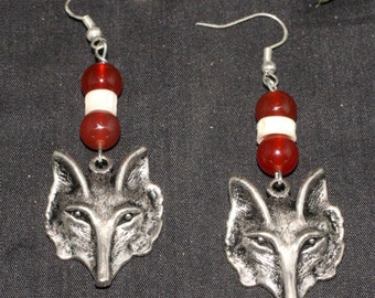 Fox, Carnelian And Bone Earrings - For Cunning & The Trickster - Pagan, Wicca, Ogham, Ogam, Celtic