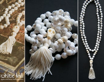 WHITE KALI MALA long necklace with a carved ox SkuLL // skull pendant with tassel / agate beads // hindu mala 108 bead mala / Yoga Necklace