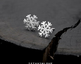 Sterling Silver Snowflake Earring | Nature Inspired Jewelry I Personalized Gift