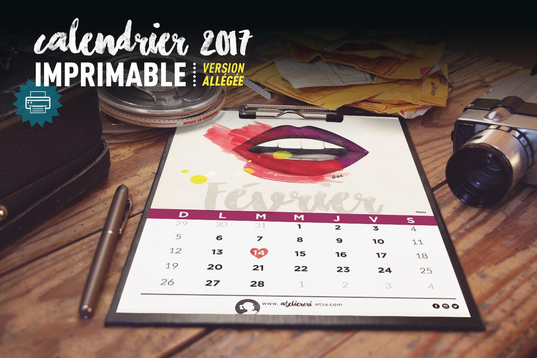 Calendrier 2017 imprimable 12 mois illustration design