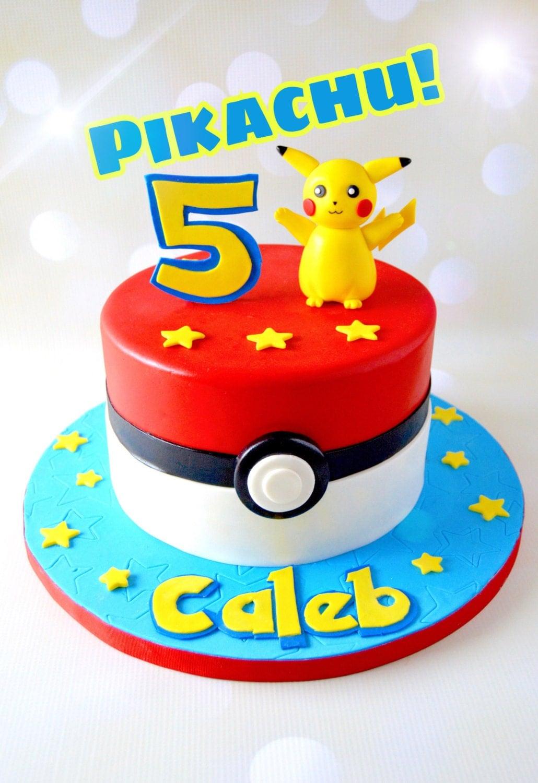 Pikachu Birthday Cake Pikachu cake topper Po...