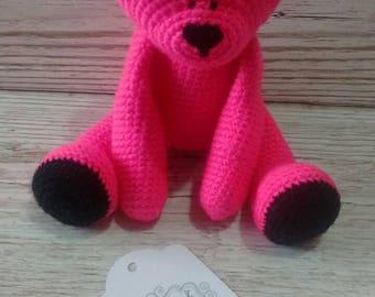 Pink Teddy Bear * Pink Teddy Bear * Crochet Bear * Bright Pink * Baby Gift * Birthday * Children