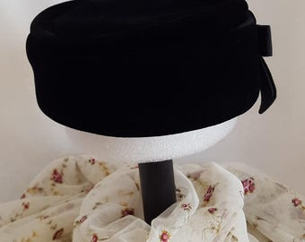 Vintage Black Velvet Pillbox Hat with Black Grosgrain Ribbon