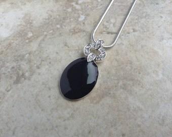 Vintage Anne Klein Black Rhinestone Silver Tone Necklace