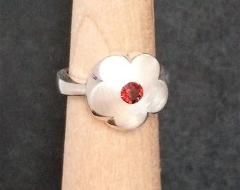 Fire Opal Sterling Silver Flower Ring