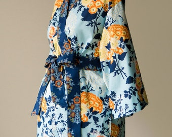 Maternity Kimono Robe. Lined Long robe. Maternity Hospital Gown. XS - Plus size. Floral cotton BTQ Blue Yellow Orange