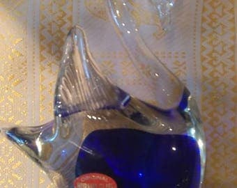 Murrano clear and blue glass swan