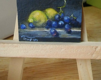 Original dollhouse oil painting - Miniature painting - Miniature still life botanical painting - fruit painting - 1 12 dollhouse wall art