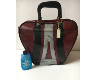 SALE! Vintage Bowling bag, Don Carter Burgundy bag, Retro Pleather Bag, Purse, Luggage w stripes, tag, ball cleaner, handles, Big Lebowski