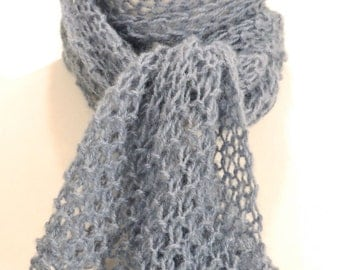 Lacy featherweight scarf in cornflower blue
