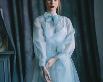 Blue wedding dress, Silk wedding dress, Custom wedding dress, Vintage wedding dress, Organza wedding dress, Summer wedding dress 0128 / 2017
