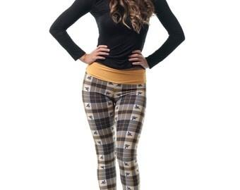 The Bee's Knees Leggings, Women's Mustard Yellow Plaid Tartan Leggings