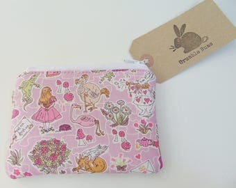 Handmade Alice In Wonderland Coin Purse,  Liberty of London Alice In Wonderland Fabric Purse, Mad Hatter Coin Wallet