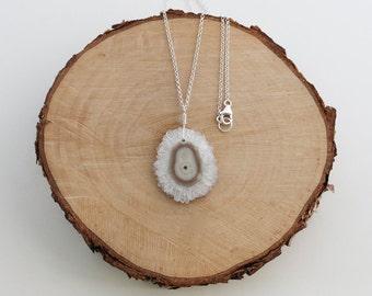 Solar Quartz Stalactite Necklace, Solar Quartz Necklace, Stalactite Pendant, Stalactite Jewelry, White Quartz Necklace, Sterling Silver