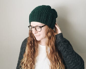 Knit Slouchy Hat Seamless Textured Beanie || THE WISTERIA
