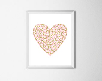 Pink Gold Nursery Heart Print Pink And Gold Nursery Decor Girl Room Wall Art Gift For Girl Gold Glitter Heart Print Heart Printable Art