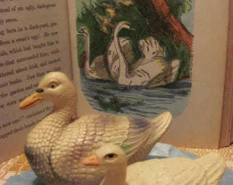 Cute Antique Celluloid Toy Duck & Goose