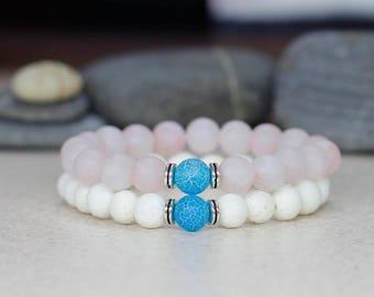 Boho bracelet set Healing bracelet Rose quartz bracelet Beaded bracelet stack bracelet Gemstone jewelry Stretch bracelet Gift for mom gift