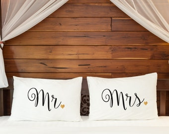 Wedding gift Mr Mrs Pillowcases 2nd cotton anniversary Couple pillow cases His Hers gifts for bride him her couple gifts Engagement marriage
