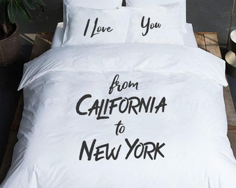 Long Distance Gift State to State pillow I love you from long distance relationship boyfriend gift Duvet cover personalized gift Bedding set