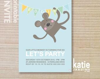 kids invitation  - printable invitation - monkey invitation - monkey party - boys invite - blue - green - white - yellow