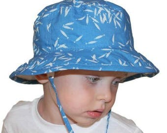 Child's Sun Protection Camp Hat - Organic Cotton Print in Minnows (6 month, xxs, xs, s, m, l)