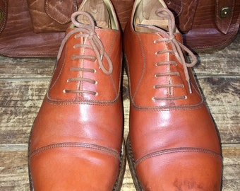 Vintage 1981 Barcly Men's Chestnut Brown Leather Cap Toe Oxfords Dress Shoes Lace Up Size EU 44 US 10 10.5--Made in Italy