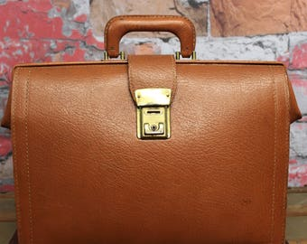 Vintage Chestnut Brown Leather Attache Briefcase, Navigation Bag, Old leather Bag, Old Leather Briefcase--Made in the USA