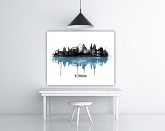 London Skyline Painting, Cityscape Art, England Travel Poster, Black Watercolor City Skyline, Silhouette Print, United Kingdom, Europe