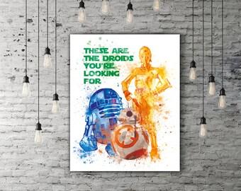 Star Wars R2D2 Art, C3PO Print, BB8 Birthday Children Painting, Star Wars Droid Robot Nursery Cute Decor, Movie Quote Print Colorful Artwork