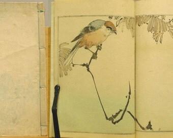 "1890, Japanese vintage woodblock print book ""SEITEI KACHÔ GAFU"" , Meiji-era, flowers, birds"