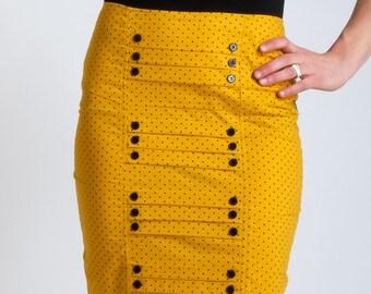 CRAYON YELLOW DOTS  Yellow dotted retro pin up pencil skirt