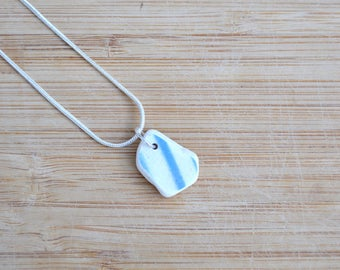 Seaside Jewellery Gift, Necklace for Her, Mother's Day, Upcycled Ceramic, Sea Pottery Pendant, Anniversary Gift, Beach Pottery, Gift Box