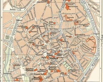 1950 map of bruges belgium antique map  vintage wall chart decor.