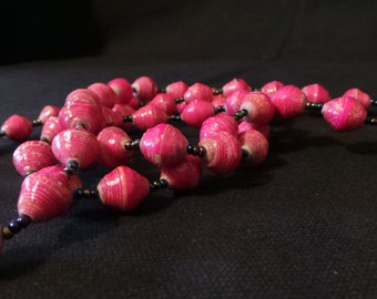 Vintage 1970's Pink Rolled Paper Beads Long Ethnic Beaded Necklace