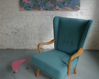 now SOLD - Howard Keith (HK) 50s Bambino Armchair Newly re-upholstered in teal Mid-century Vintage
