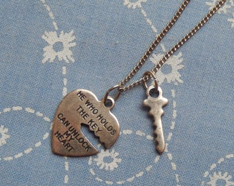 Small Unlock My Heart  and Key Love Pendant Charm Necklace