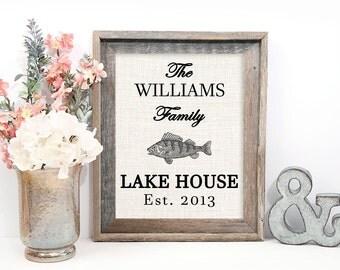Lake House Decor, Lake House Sign Personalized, Lake House Decorations, Burlap Print