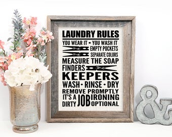 Laundry Sign, Laundry Rules, Laundry Room Sign on Burlap